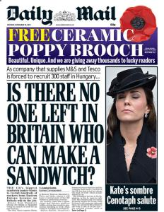 A run-of-the-mill Daily Mail front page. (Photo courtesy of the Daily Mail)